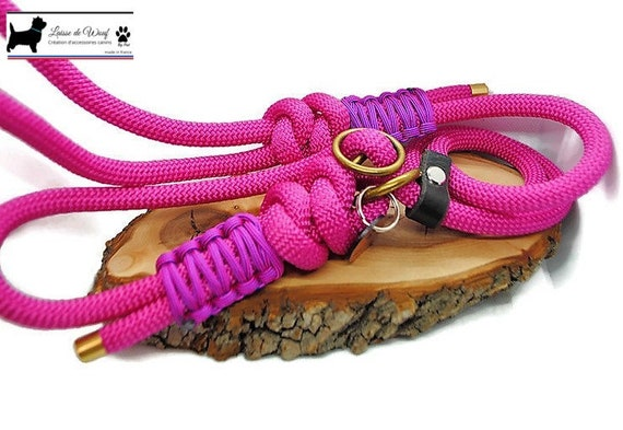 Leash pink paracon 10mm Stop leather - Laissedewouf