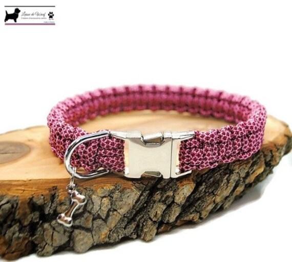 Pink Diamond dog collar - width 2cm - Wouf leash