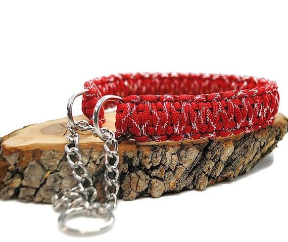 Red Metallic Dog Collar - width 3cm - Wouf Leash