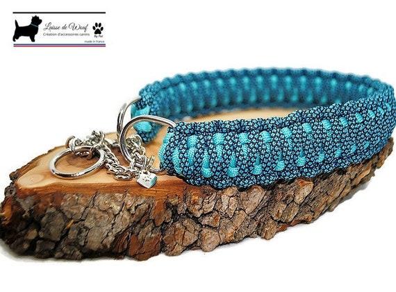 Blue diamond dog collar - width 3cm - Wouf leash