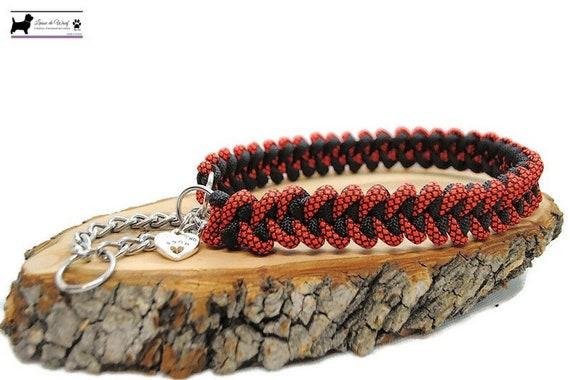 Dog Collar Shark Black/Orange - width 2cm - Leash of wouf