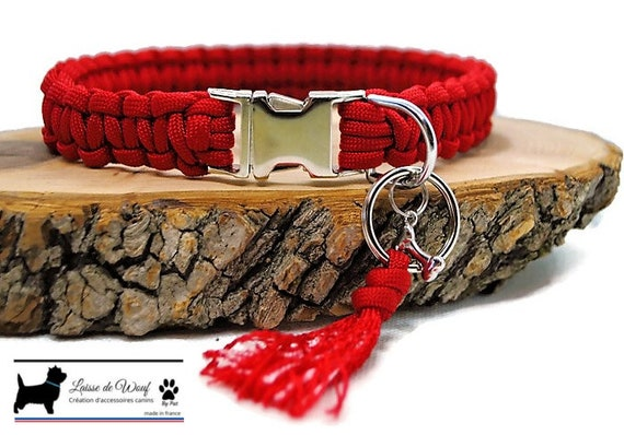 Collar dog Plain red - width 2cm - Leash of wouf