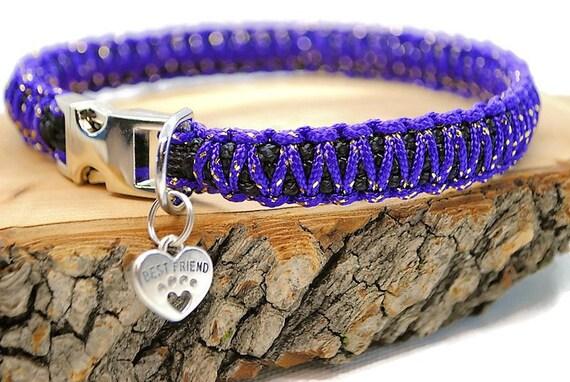 Collar dog Purple Metallic - width 1.5cm - Leash of wouf