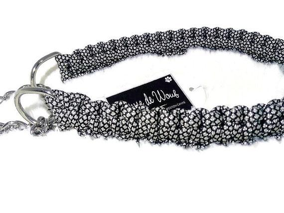 Silver Diamond dog collar - width 2cm - Wouf leash