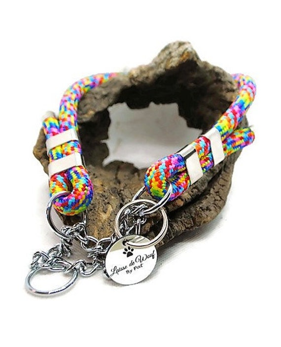 Collar for dog in paracord Multicolor wouf leash diameter 10mm