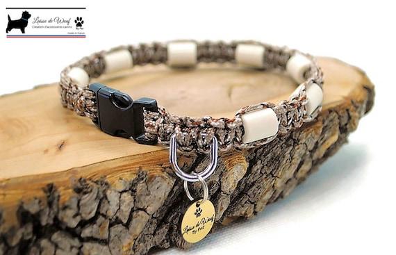 EM ceramic tick collar for natural protection for camouflage dog or Kaki