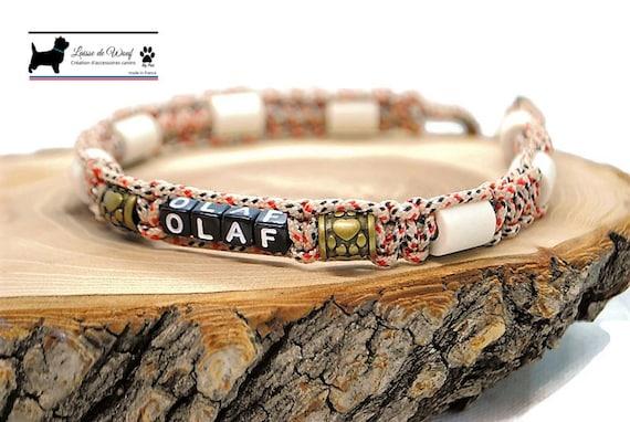 Adjustable EM ceramic tick collar for natural dog protection - Tartan Beige Collection wouf leash
