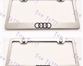 2X Audi Q5 Q 5 Stainless Steel License Plate Frame Rust Free W// Caps