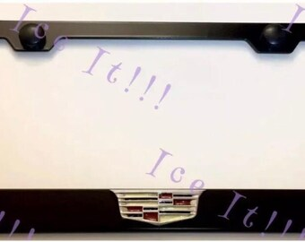 Cadillac Classic 3D Front License Plate Frame Black Stainless Steel with Caps