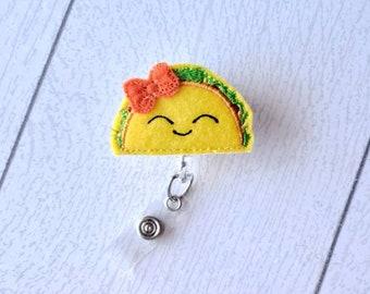 Taco retractable badge reel, bow optional, cinco de mayo, taco lover, taco Tuesday,  nurse gift, taco lover gift, nurse badge, feltie badge