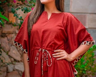 birthday party Double layer mulmul kaftan dress Halloween Plain red cotton dress for girls /& women Perfect matching dress for Christmas