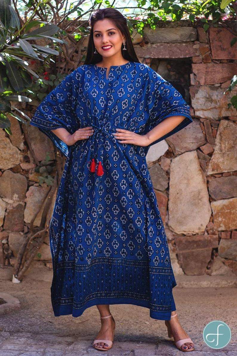 women dress Natural dye Indigo cotton kaftan dress kimono summer dress Blue cotton drop print strip cotton kaftan dress kaftan dress