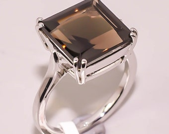 925 Sterling Silver Brown Smokey Quartz Nice Gemstone Ring Nice Gemstone Round cabochon Smokey Quartz Rings Wedding Jewelry Highest Item Gift for Children Day Hammered Ring