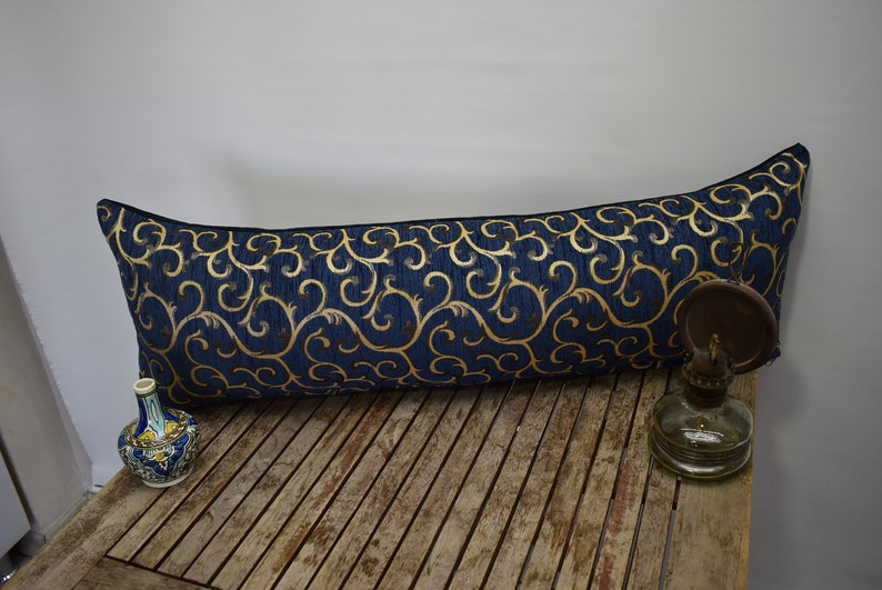 lumbar pillow cover floral design 12 x 36 inch decorative bedding pillow soft chenille fabric pillow cover navy blue pillow bohemian pillow
