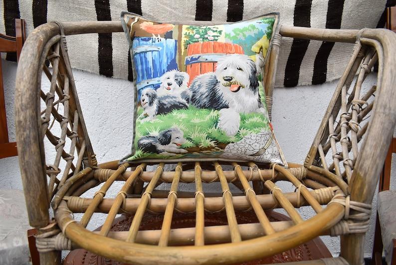 lovely dogs pattern fabric designer pillow cover farm animals design decorative turkish pillow cover  17 x 17 inch boho decor pillow  covers