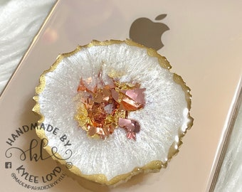 Custom Pop Socket Resin Geode Phone Grip Color shifting Pink Geode Phone Grip Gifts for her Pink Agate Phone Accessories Gold Agate