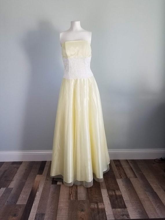 Vintage 1990s yellow formal dress Masquerade brand