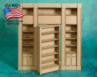 """Hidden Door Library Wall with Hinged Door (LBH) - 9.25"""" x 9.75"""" chip board - for Dollhouse, Diorama, Book Nook"""