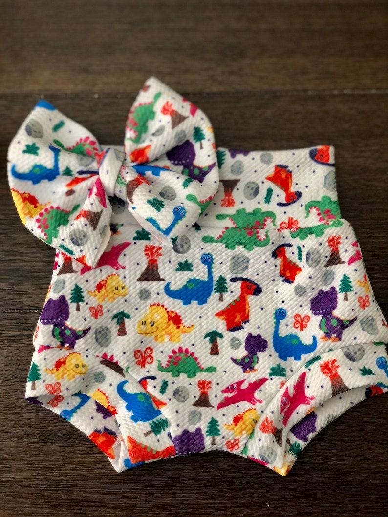 Dinos Bummie /& bow Set  Baby Girl  Baby Boy  Bows  Bummies  Toddler