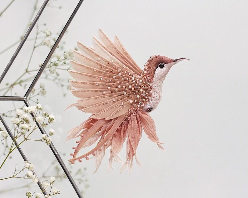 Hummingbird pin. Tea rose embroidered brooch Bird brooch