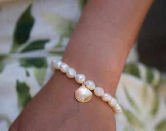 Beach Water safe jewelry Mermaid * Adjustable Pearl Bracelet Gold ...