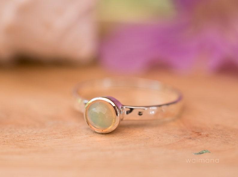 Birthstone WR067 Ethiopian Opal Gold Ring Stone Gemstone Waimana Ethiopian Opal Hammered Sterling Silver Ring Hammered Handmade