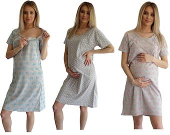 981 Maternity Pyjama Nightdress Hospital Pregnancy Nursing Nightwear XL Fuchsia