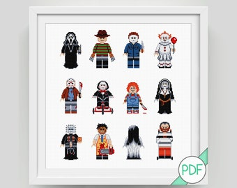 Cross Stitch Pattern: Collection of Horror Movie Characters, PDF INSTANT DOWNLOAD