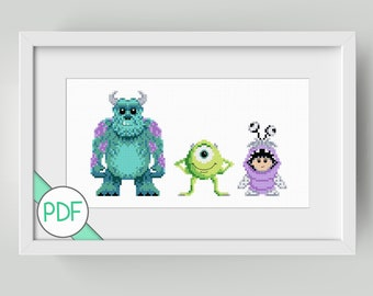 Cross Stitch Pattern: Monster Company Characters, PDF INSTANT DOWNLOAD