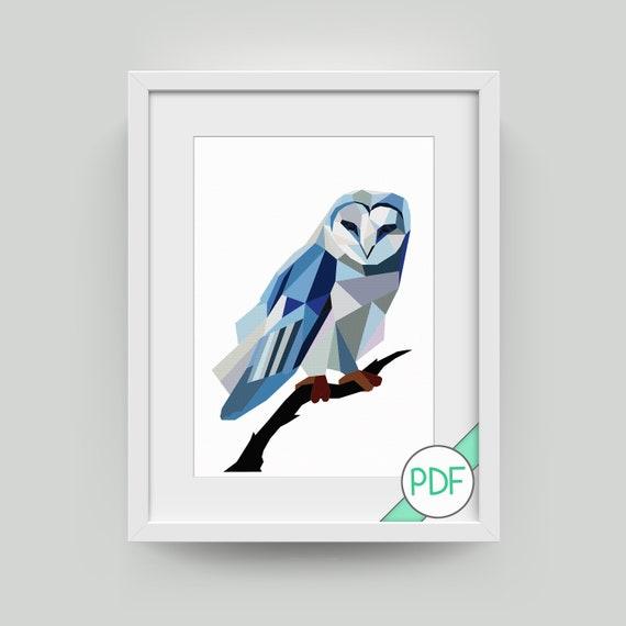 Large Animal Barn Owl Cross Stitch Pattern Owl Polygonal PDF INSTANT DOWNLOAD Geometric