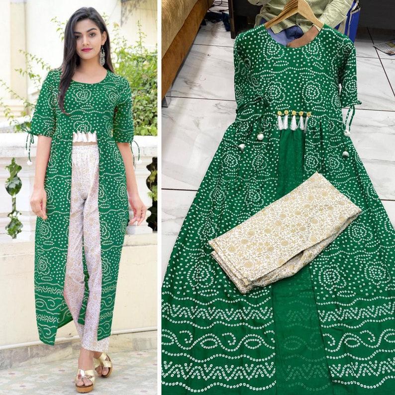 Casual Wear Foil Printed Indian Designer Outfits Salwar Kameez Trouser Palazzo Dress Bandhej Printed Anarkali Kameez Pant Palazzo Shrug Suit