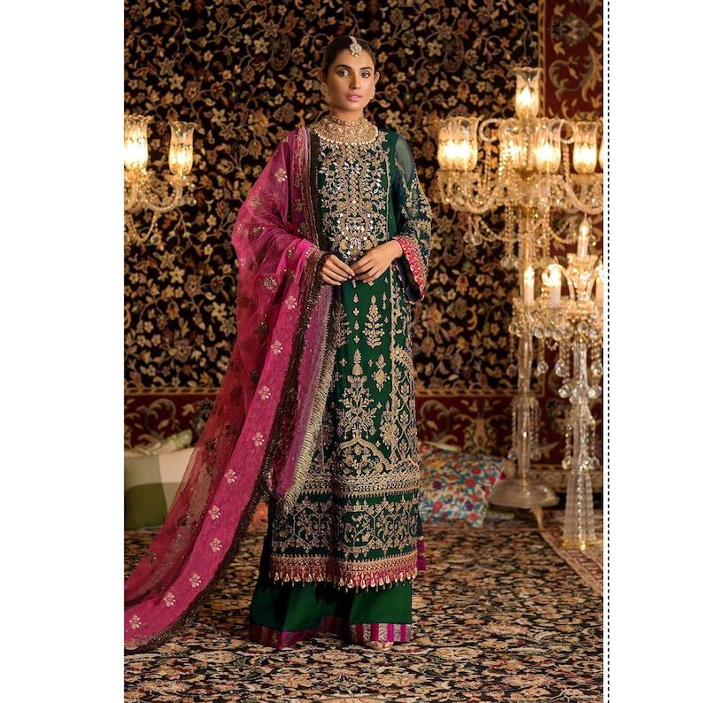 Pakistani Indian Collection Designer Muslim Wear Short Length Salwar Palazzo Suits Wedding Reception Wear Bridal Dress Latest New Suits Top