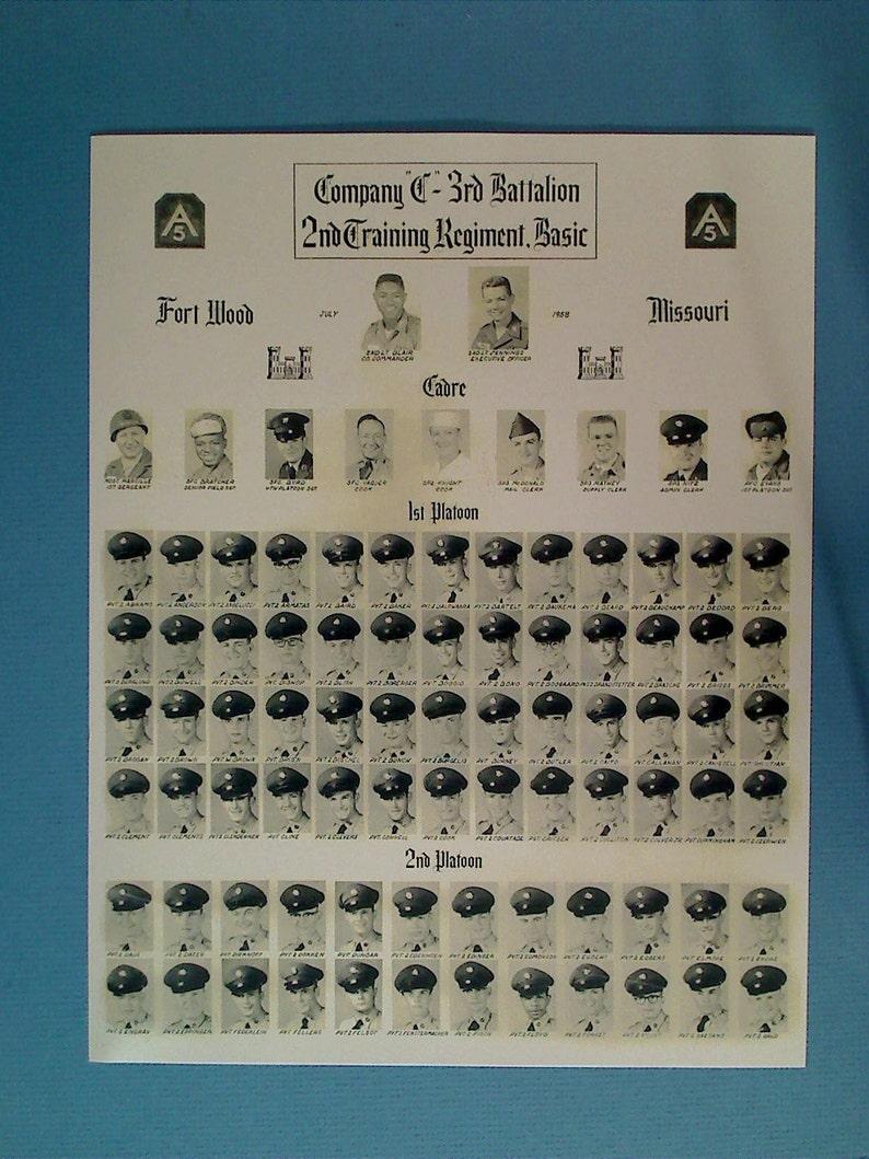 MILITARY Print July 1958 US ARMY Fort Wood Missouri Basic Training School Photo Co D 3rd Batt 2Nnd Trng Reg