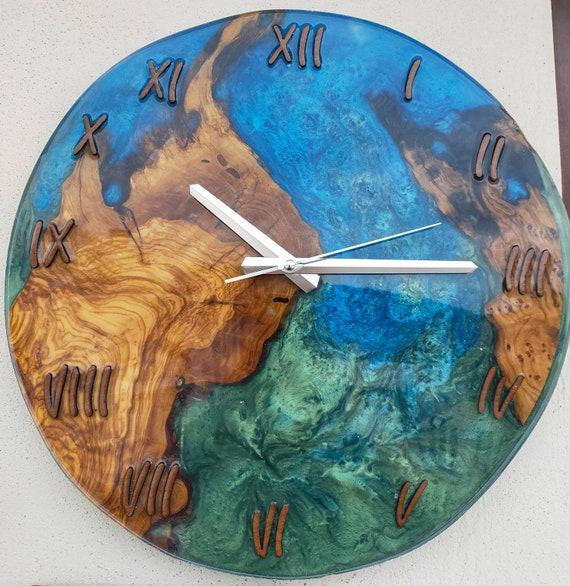 Leather Wall Clock Resin Wall Clock Epoxy Wall Clock Personalized  Big wall clock Epoxy LeatherClock