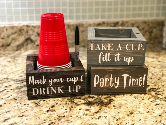 Solo Cup Holder With Marker Drunk Af Mark Your Cup And Drink Etsy