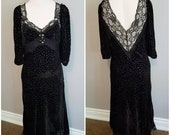 Boho Hippie Goth Witch of The Festival burnout velvet lace trimmed plunging V-back full-length dress gown - 6-8 S - M, very dramatic