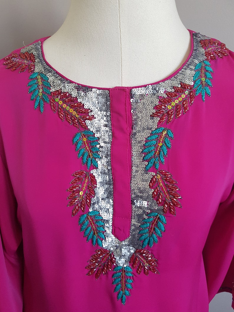 Hot Pink  Fuchsia Indian Tunic with beads and sequins fits SM