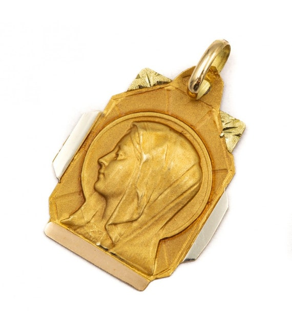 Virgin Mary pendant - protection charm - 18 ct Fre