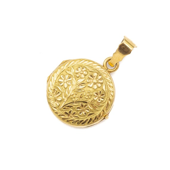 small Floral flower locket - 18 ct yellow gold loc