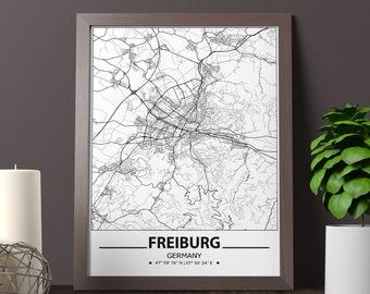 FREIBURG Illustrated City Map Print Original illustration Freiburg im Breisgau Germany travel print Europe memories travel wall
