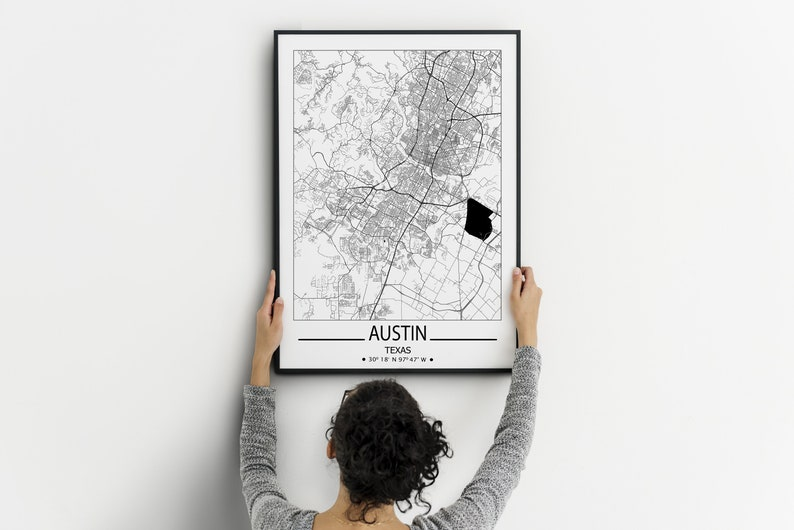 Austin wall art prints Austin city map print Travel maps wall art posters City map print of Austin Texas prints Austin poster
