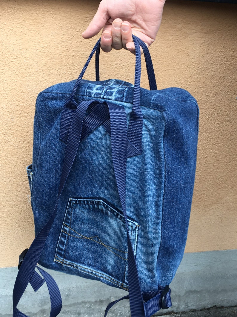 denim upcycle Bella backpack ryggs\u00e4ck rug sack Jeans Backpack small bag recycled clothing
