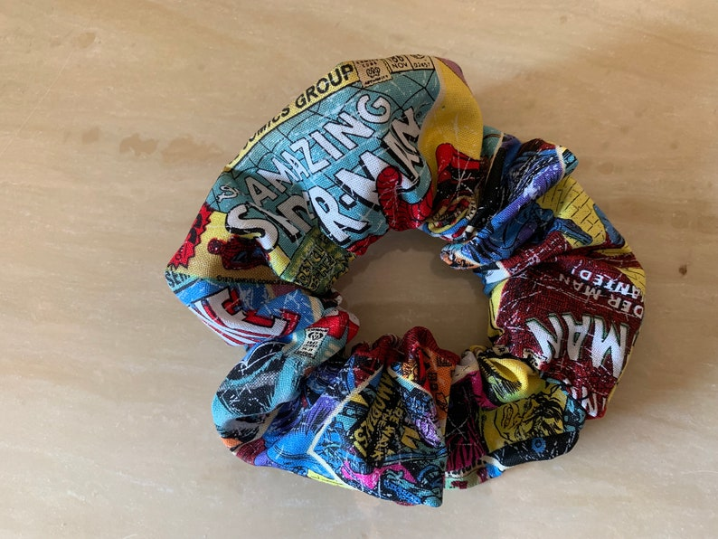 35 Amazing Marvel Gift Ideas featured by top US Disney blogger, Marcie and the Mouse: Marvel Comics Scrunchie image 0