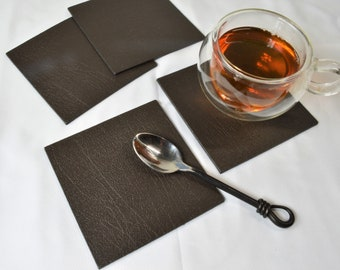 Mug Cup Drinks Set of 4 Large Square ARTISAN COPPER Leather Coasters MADE IN UK