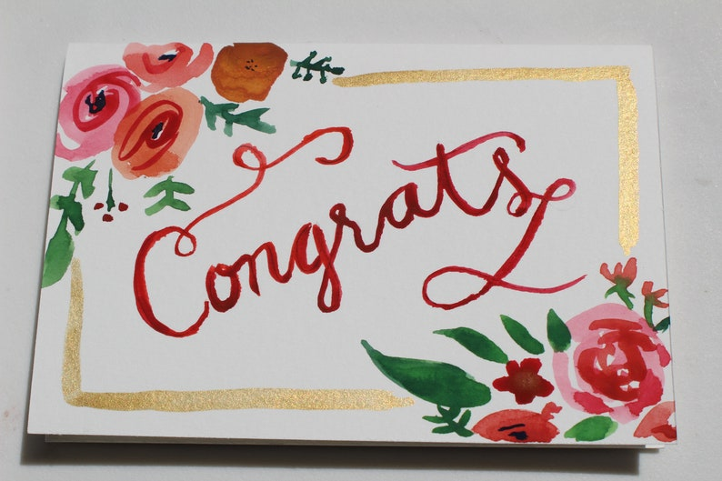 Watercolor Wedding Congrats Cards