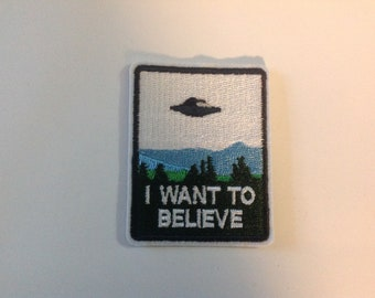 flying saucer ufo X-Files Patch I Want To Believe punk patches alien xfiles