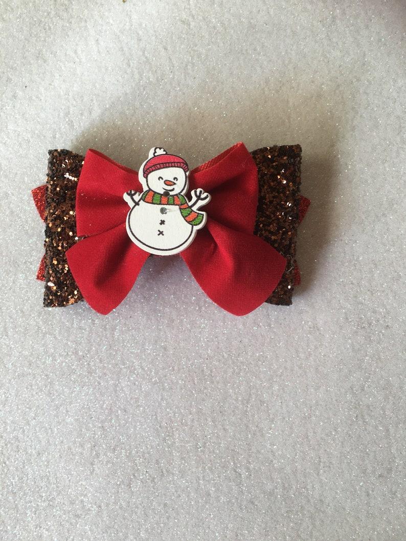 3 Pack Christmas sparkly handmade hair bow clip large