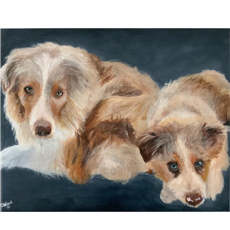 Custom Double Pet Portraits Hand Painted Acrylic on Canvas