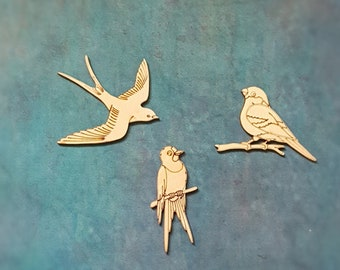 30 pack MDF Wood Craft Embelishments Laser Cut Shape 2cm Swallow Bird Birds