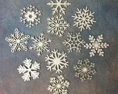 12 Wooden Snowflakes Christmas Ornaments Plywood Blank Shapes Craft Embellishment Festive Home Decoration